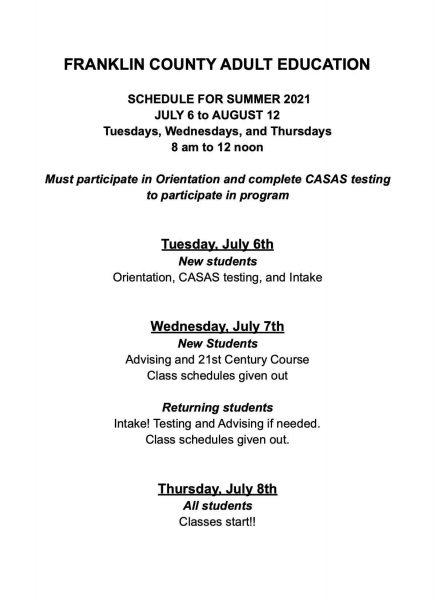 Summer schedule fy 21